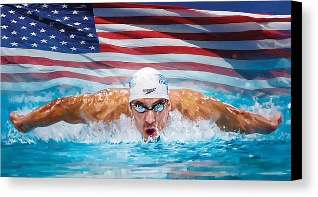 Michael Phelps Paintings Canvas Print featuring the painting Michael Phelps Artwork by Sheraz A