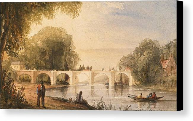 River Canvas Print featuring the painting River Scene With Bridge Of Six Arches by Robert Hindmarsh Grundy