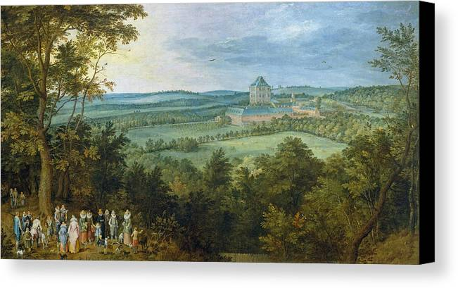 Animal Canvas Print featuring the painting The Archdukes Hunting by Jan Brueghel the Elder