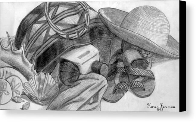 Pencil Canvas Print featuring the drawing At The Beach by Karen Freeman