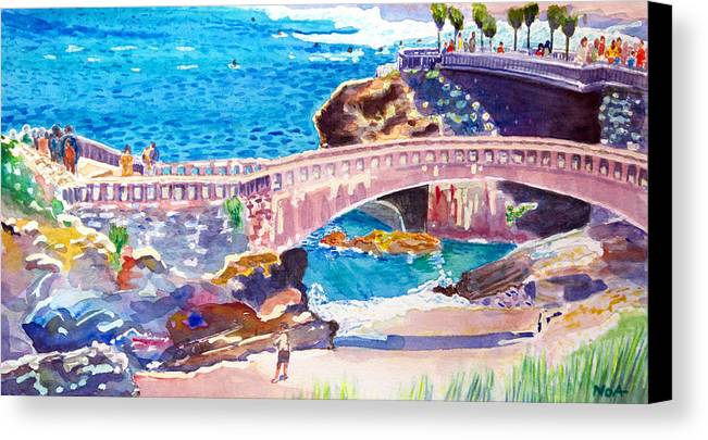 Seascape Canvas Print featuring the painting Biarritz by Aymeric NOA