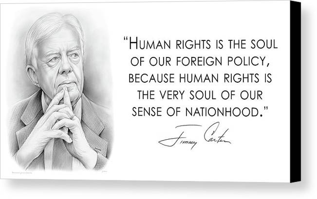 Jimmy Carter Canvas Print featuring the drawing Carter On Human Rights by Greg Joens