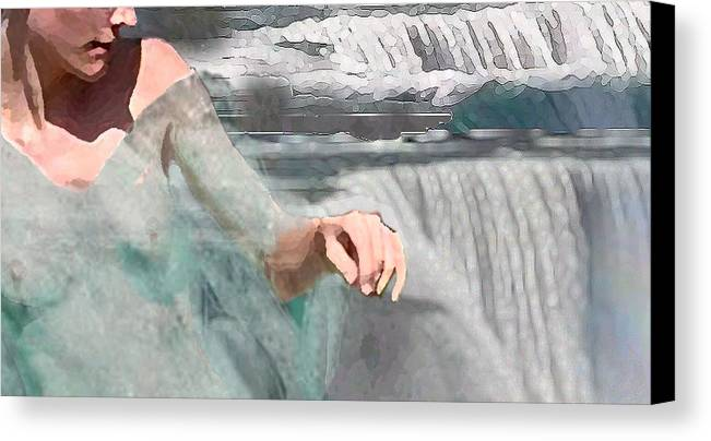 Waterscape Canvas Print featuring the digital art Cascade by Steve Karol