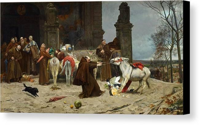Man Canvas Print featuring the painting Eduardo Zamacois Y Zabala , Returning To The Monastery 1868 by Eduardo Zamacois y Zabala