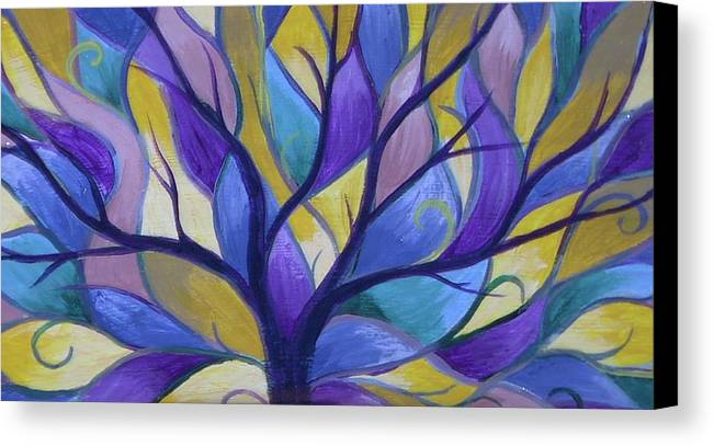 Tree Bright Purple Canvas Print featuring the painting Enlighten by Sally Van Driest