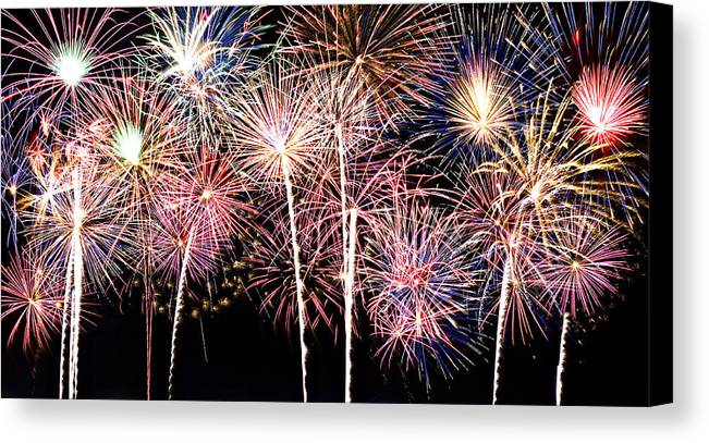 4th Canvas Print featuring the photograph Fireworks Spectacular by Ricky Barnard