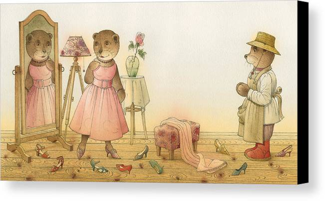 Love Flirt Glamour Bears Amour Rose Fashion Canvas Print featuring the painting Florentius The Gardener16 by Kestutis Kasparavicius
