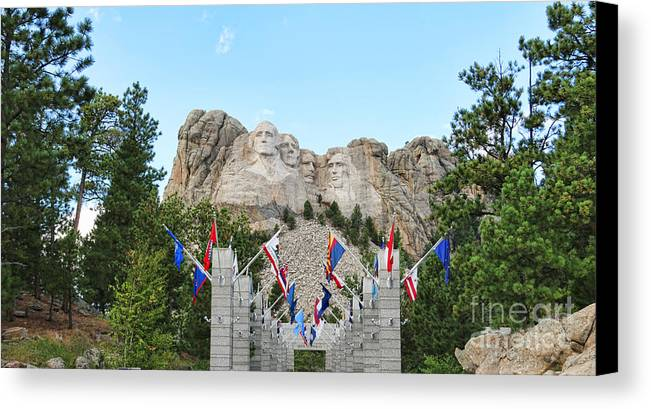 Mount Rushmore Canvas Print featuring the photograph Mount Rushmore Entrance 8713 by Jack Schultz