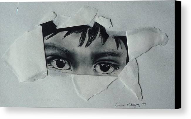 Pencil Drawing Canvas Print featuring the drawing My Child's Eyes by Carmen R Sonnes