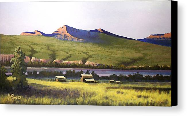 Landscape Canvas Print featuring the painting Old Homestead by Dalas Klein