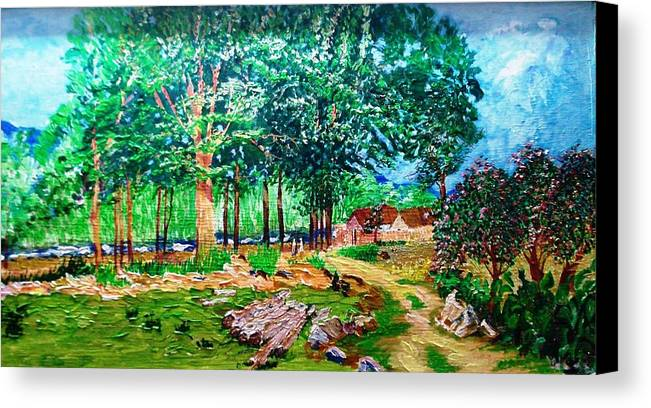 Tree Canvas Print featuring the painting Quiet Countryside by Narayan Iyer