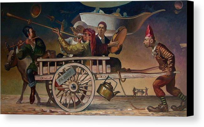 Clown Canvas Print featuring the painting The Road To Tashkent by Faizulla Khamraev