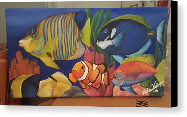 Tropical Fish Canvas Print featuring the painting Tropical Fish by Melanie Widgeon
