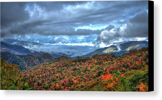 Reid Callaway Up In The Clouds Canvas Print featuring the photograph Up In The Clouds Blue Ridge Parkway Mountain Art by Reid Callaway