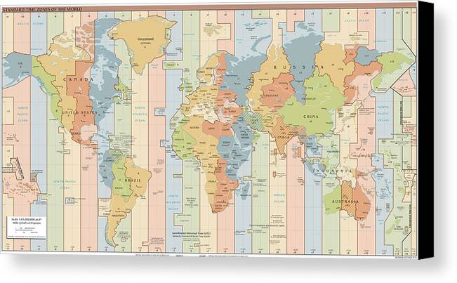 World time zone map canvas print canvas art by cartographyassociates world map canvas print featuring the drawing world time zone map by cartographyassociates sciox Image collections
