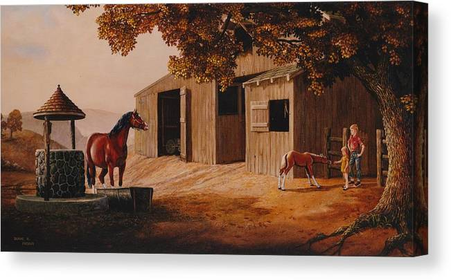 Farm Canvas Print featuring the painting First Meeting by Duane R Probus