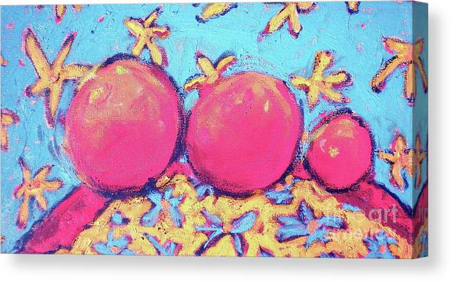 Fruit Canvas Print featuring the painting Three Oranges by Diane STEVENETT