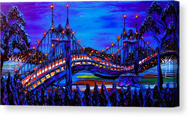 Canvas Print featuring the painting Blue Night Of St. Johns Bridge 37 by Dunbar's Modern Art