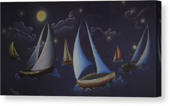 Sailing Canvas Print featuring the pastel Come Sail Away by Amanda Clark