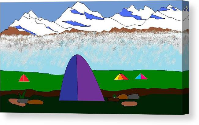 Mountains Canvas Print featuring the digital art Himalayas by Kiran B