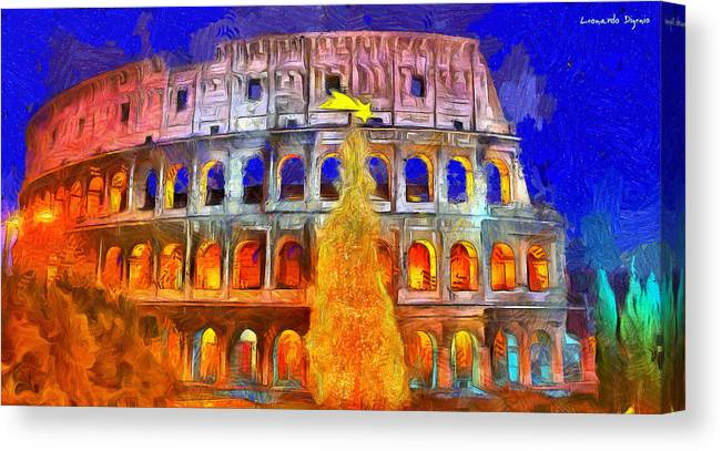 Coliseum Canvas Print featuring the digital art The Colosseum And Christmas - Van Gogh Style - - Da by Leonardo Digenio