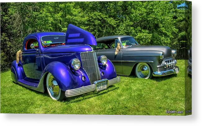 1936 Canvas Print featuring the digital art Mild Customs 1936 Ford And 1953 Chevy by Ken Morris