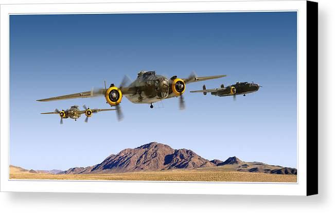 B-25 Mitchell Bomber Framed Prints Canvas Print featuring the photograph B-25 Mitchell Bomber by Larry McManus