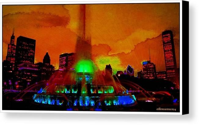 Chigago Canvas Print featuring the photograph Buckingham Fountain Fantasy Chicago Il by Ellen Cannon