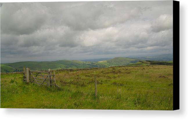 Barbed Wire Canvas Print featuring the photograph Gate To The Peak District by Stephen Haunts