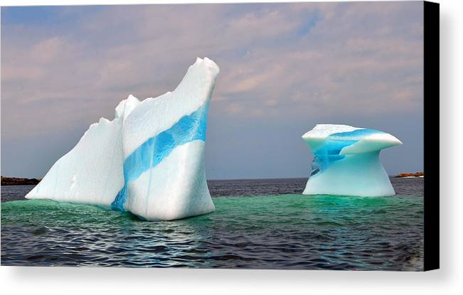 Iceberg Off The Coast Of Newfoundland Canvas Print featuring the photograph Iceberg Off The Coast Of Newfoundland by Lisa Phillips