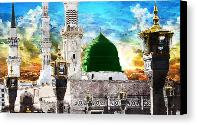 Islamic Canvas Print featuring the painting Islamic Painting 004 by Catf