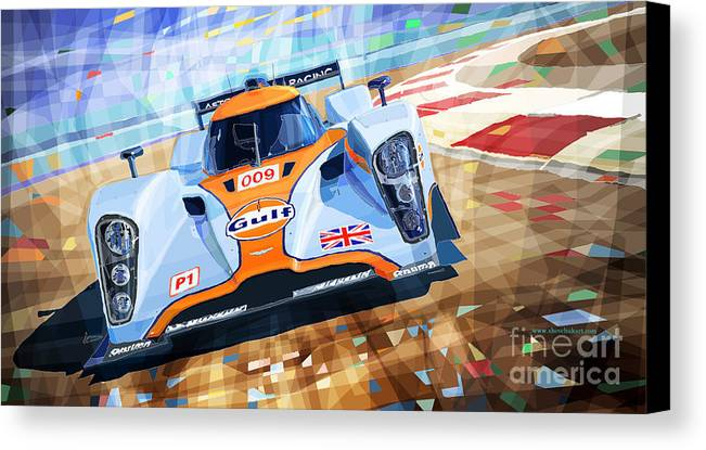 Automotive Canvas Print featuring the mixed media Lola Aston Martin Lmp1 Racing Le Mans Series 2009 by Yuriy Shevchuk