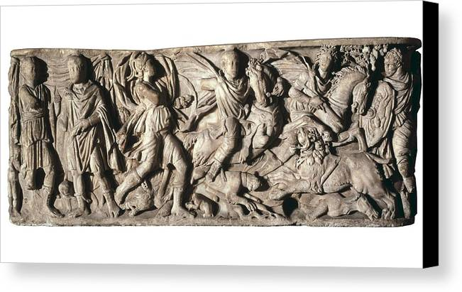 Horizontal Canvas Print featuring the photograph Sarcophagus With Hunting Scene, 3rd C by Everett