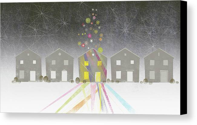 Horizontal Canvas Print featuring the digital art A Row Of Houses by Jutta Kuss