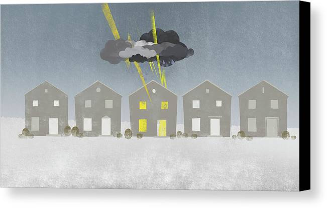 Horizontal Canvas Print featuring the digital art A Row Of Houses With A Storm Cloud Over One House by Jutta Kuss