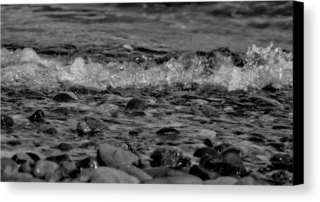 Shore Canvas Print featuring the photograph Black And White Shore by Chrissy Gibbs