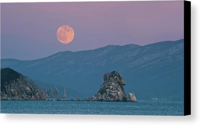 Horizontal Canvas Print featuring the photograph Full Moon Over Cape Laplace. by V. Serebryanskiy