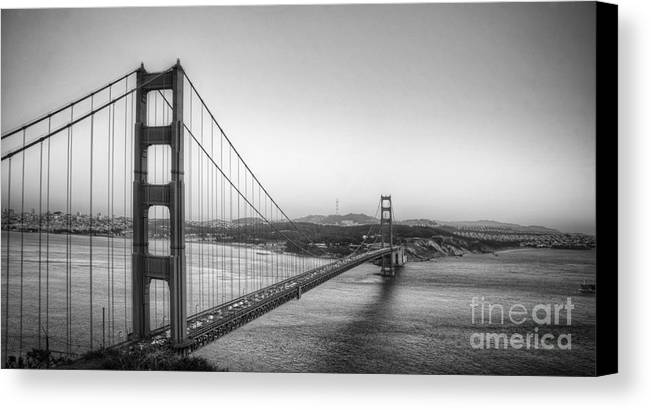 Golden Gate Bridge Canvas Print featuring the photograph Golden Gate Black And White by Jim And Emily Bush