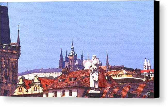 Steve Huang Canvas Print featuring the digital art Prague Castle by Steve Huang