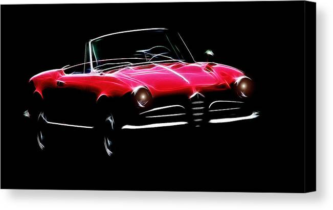 Alfa Romeo Spider Giulia 1600 Car Oldtimer Digital Painting Black White Expressionism Impressionism Motor Sport Sports Canvas Print featuring the digital art Red Alfa Romeo 1600 Giulia Spider by Steve K