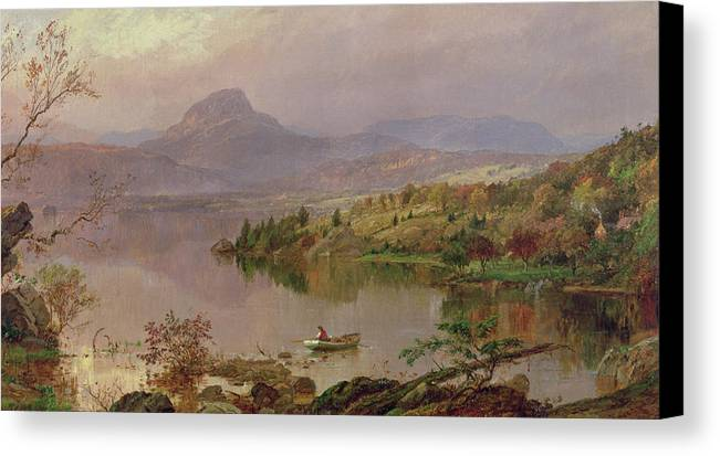 American Landscape; Boat; Mountain; Franklin County; West-central Maine; Spring; Rugged; Solitary; Hudson River School;sugarloaf From Wickham Lake Canvas Print featuring the painting Sugarloaf From Wickham Lake by Jasper Francis Cropsey