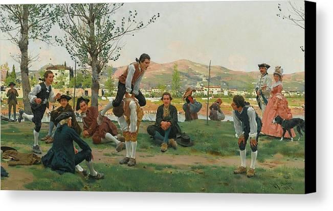 Raffaello Sorbi 1844 - 1931 Italian Saltarello Cavallucio (a Game Of Leapfrog) Canvas Print featuring the painting Italian Saltarello Cavallucio by Raffaello Sorbi