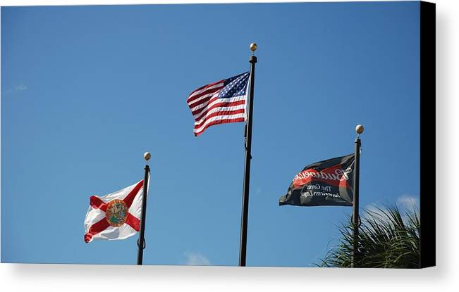 American Flag Canvas Print featuring the photograph 3 Flags by Rob Hans