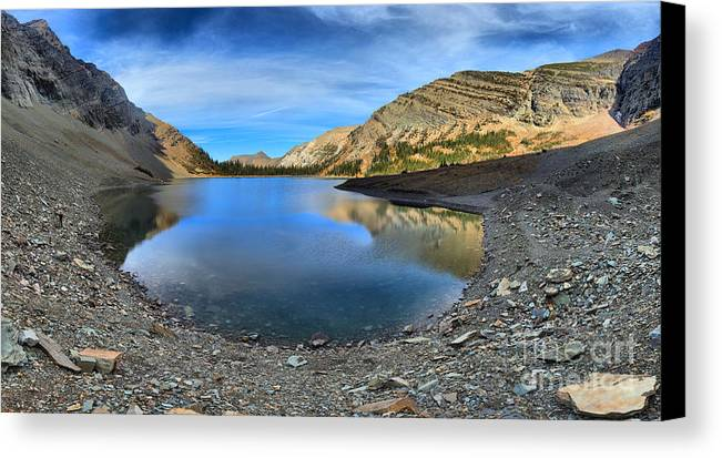 Crypt Lake Canvas Print featuring the photograph Crypt Lake Gold And Blue by Adam Jewell