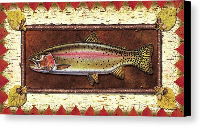 Trout Canvas Print featuring the painting Cutthroat Trout Lodge by JQ Licensing
