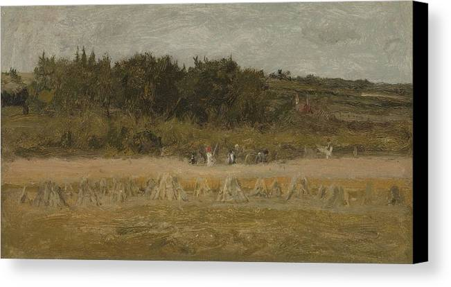 Nature Canvas Print featuring the painting Eastman Johnson 1824 - 1906 Landscape Sketch by Eastman Johnson