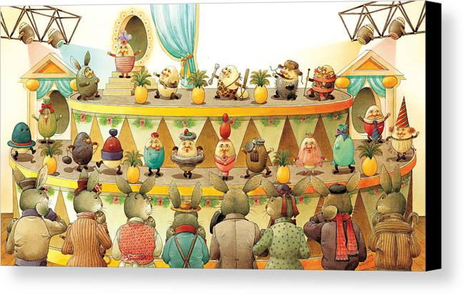 Egs Easter Canvas Print featuring the painting Eggs Fashion by Kestutis Kasparavicius