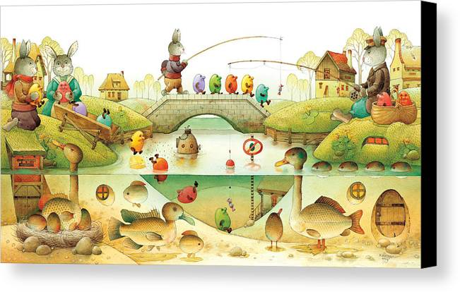 Eggs Easter Rabbit Canvas Print featuring the painting Eggstown by Kestutis Kasparavicius