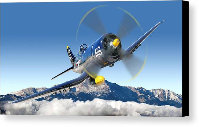 F4-u Corsair Canvas Print featuring the photograph F4-u Corsair by Larry McManus