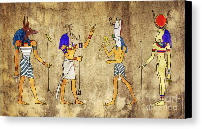 Anubis Canvas Print featuring the digital art Gods Of Ancient Egypt by Michal Boubin